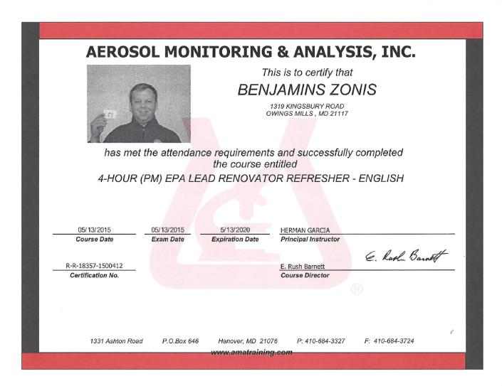 aerosol monitoring and analysis certification