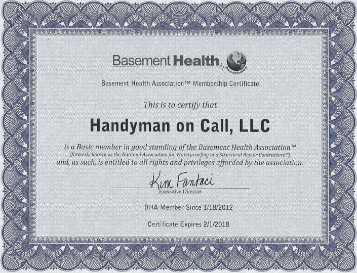 Basement health Association certification