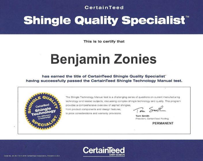 certainteed certification